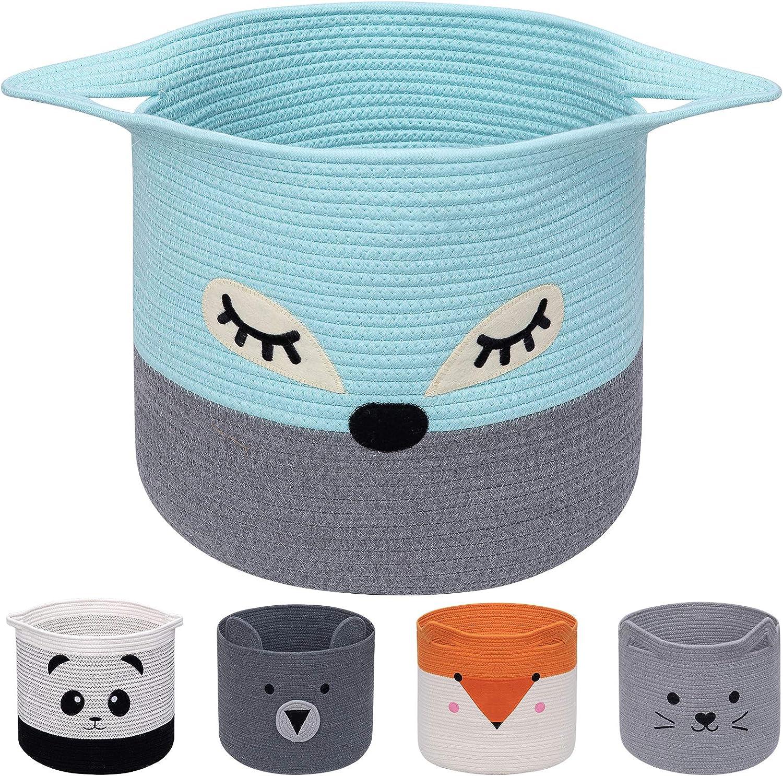 AXHOP Cesta plegable de cuerda de algodón para la colada, cesta de juguetes para niños, ropa y decoración de habitaciones, cesta de lavandería, cesta de regalo para mascotas para gato.
