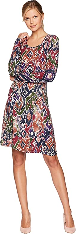 Ikat Printed Rayon Spandex Slub Jersey Princess Seamed Dress with Front Pockets