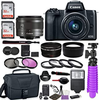 Canon EOS M50 Mirrorless Digital Camera (Black) Premium Accessory Bundle with EF-M 15-45mm is STM Lens (Graphite) + Canon Gadget Case + 64GB Memory + HD Filters + Auxiliary Lenses