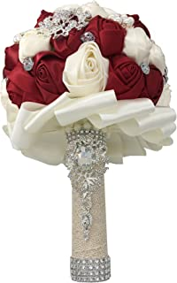 Jackscale Romantic Wedding Bride Holding Bouquet Roses with Diamond Pearl Ribbon Valentine's Day Bouquet Confession (D453 Wine red+Ivory)