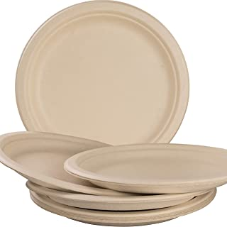Pro-Grade, Biodegradable 10 Inch Plates. Bulk 100 Pack Great for Lunch, Dinner Parties and Potlucks. Disposable, Compostable Wheatstraw Paper Alternative. Sturdy, Soakproof and Microwave Safe