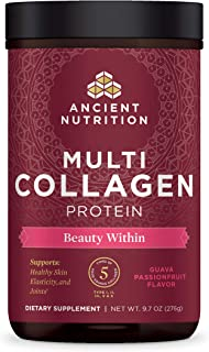 Ancient Nutrition Multi Collagen Protein Powder Beauty Within, Guava Passion Fruit Flavor, Hydrolyzed Collagen Supplement Supports Hair, Skin & Joints, 24 Servings
