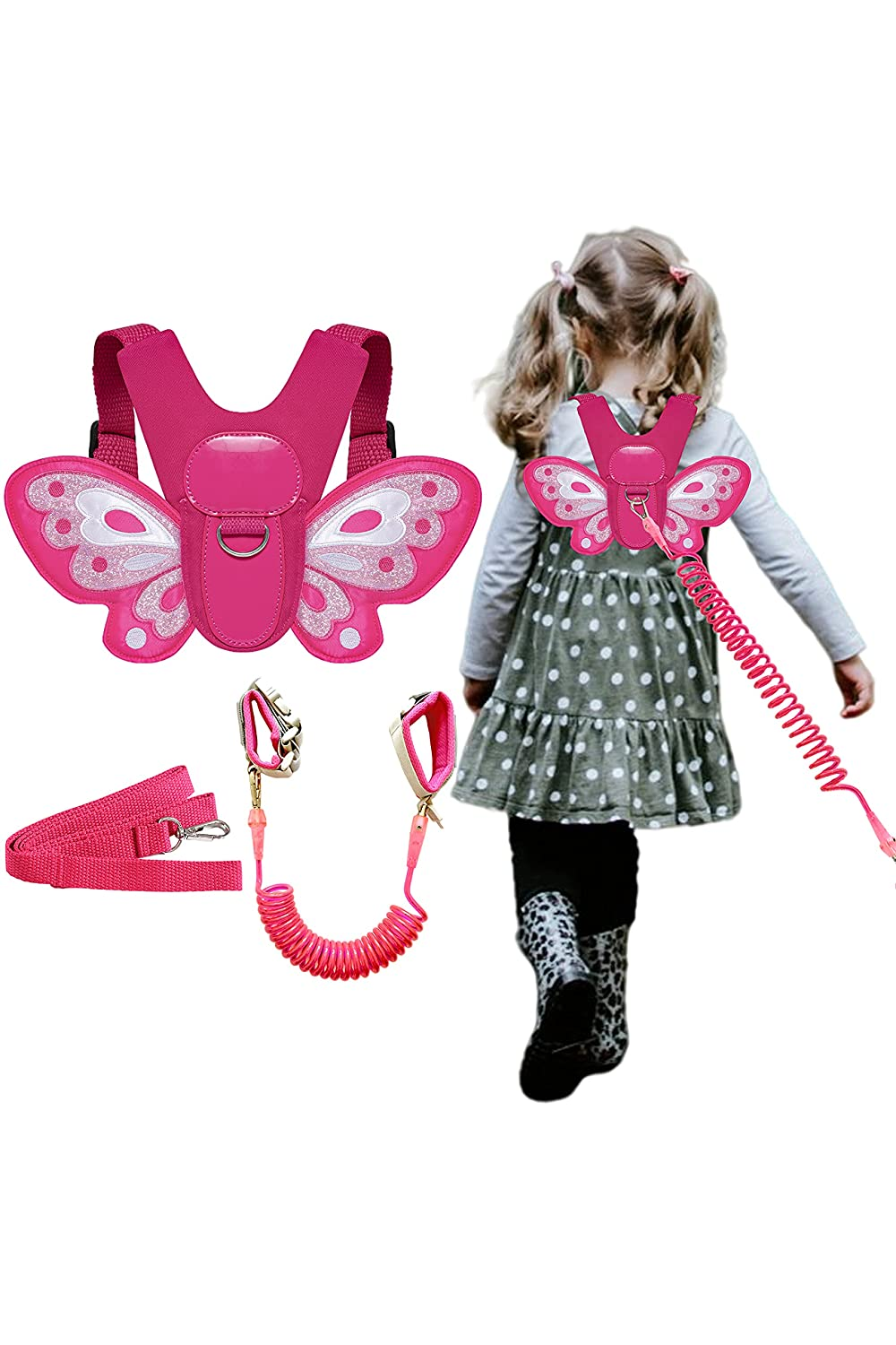 Butterfly Toddlers Harness Leash with Kids Anti Lost Wristband for Children (Rose)