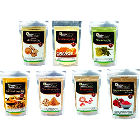 Online Quality Store face pack for glowing skin and pimples combo pack of :-( Multani Mitti 100g,Chandan Powder 50g,Orange Peel Powder 50g, Neem Powder 50g and Rose Powder 50g,kasturi turmeric 50 gm,pomegranate powder 50 gm , 400g