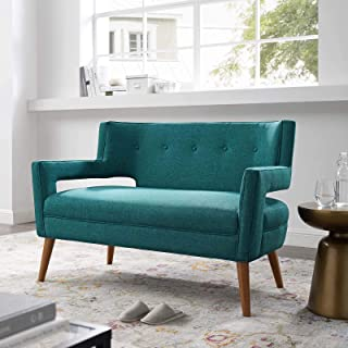 Modway Sheer Upholstered Fabric Mid-Century Modern Loveseat in Teal