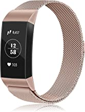 Keasy Replacement Bands Compatible for Fitbit Charge 3 Stainless Steel Metal Wristbands with Metal Lock for Women Men/