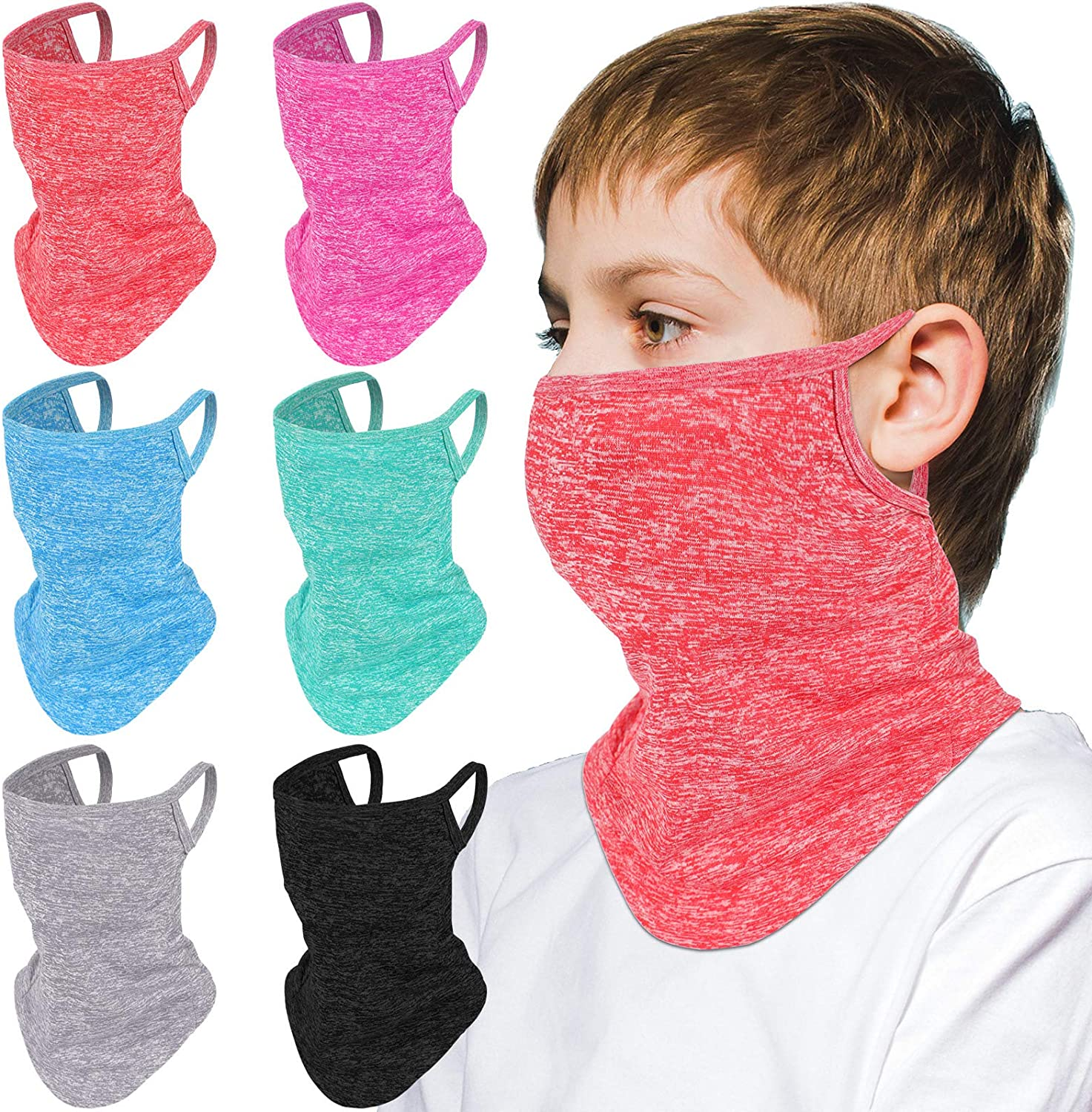 Limited time sale Jeere 6 Pieces Kids Neck Gaiter Sun Covering UV Dedication Protection Face