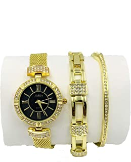 Women's 3 Piece Watch & Jewelry Gift Set - Gold - 8891
