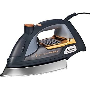 Shark Professional Steam Iron, Garment Steamer with Fabric Selector, Auto-Shut Off and Stainless Steel Soleplate, 1800 Watts (GI505), Gold