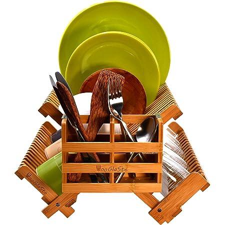 Wooglaste - Égouttoir à Vaisselle - en Bois de Bambou - 4 Supports de Rangement - 1 Niveau Supérieur pour Assiettes- 2 Niveaux Latéraux pour Tasses et Verres - 1 Panier à Couverts - Pliable