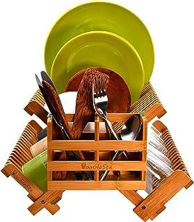 Wooglaste - Égouttoir à Vaisselle - en Bois de Bambou - 4 Supports de Rangement - 1 Niveau Supérieur pour Assiettes- 2 Niv...