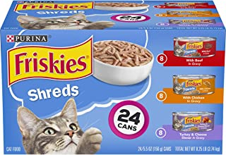 Purina Friskies Gravy Wet Cat Food Variety Pack, Shreds Beef, Chicken and Turkey &..