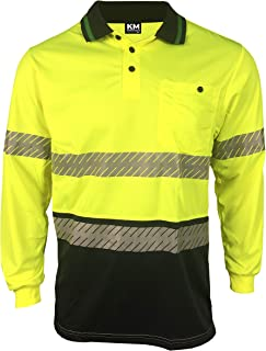 MAK WORKWEAR | Long Sleeve Hi-Vis Bamboo Polo with Segmented Reflective Tape - Yellow/Navy
