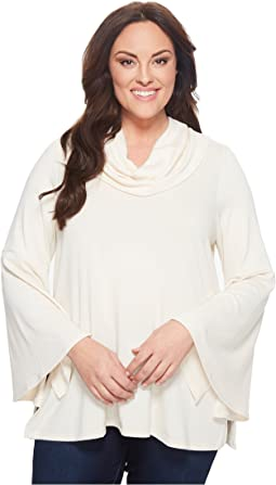 Karen Kane Plus Plus Size Flare Sleeve Cowl Neck Top