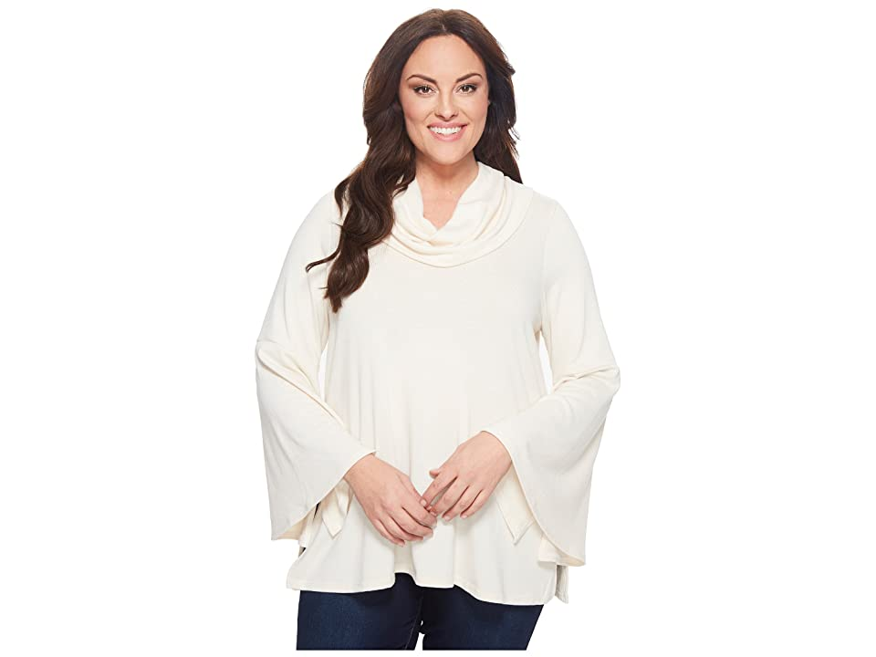 Karen Kane Plus Plus Size Flare Sleeve Cowl Neck Top (Butter) Women
