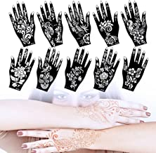 Lady Up 10 Sheets Henna Tattoo Stencils Temporary Tattoo Temples Set Indian Arabian Tattoos Reusable Stickers Stencils Body Art Designs for Hands