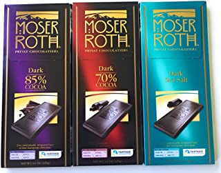German Dark Chocolate Bundle of 3 Varieties. Moser Roth 85%, 70% and Dark Sea Salt. Low Sugar Gourmet Candy Bars. Good for the Waist Line and Chocolate Lovers! Freshly Imported from Europe.