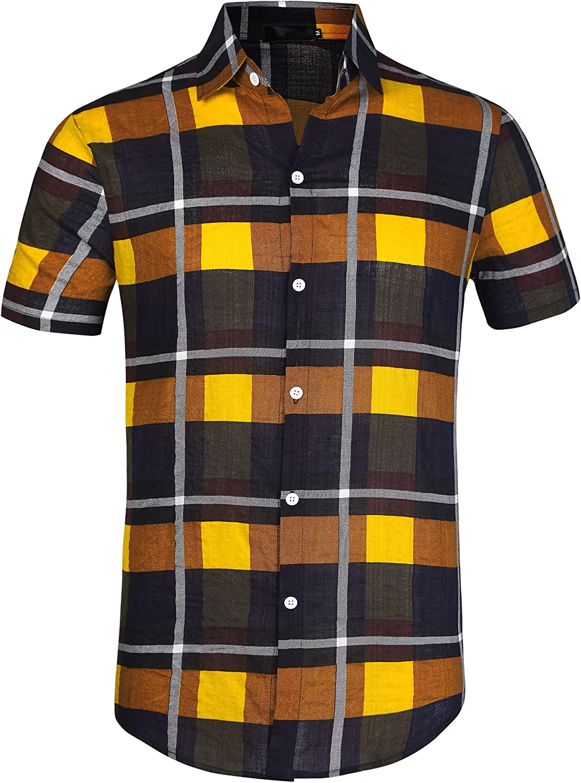 Lars Amadeus Men's Classic Plaid Dress Shirt Short Sleeve Regular Fit Casual Button Down Checked Shirts