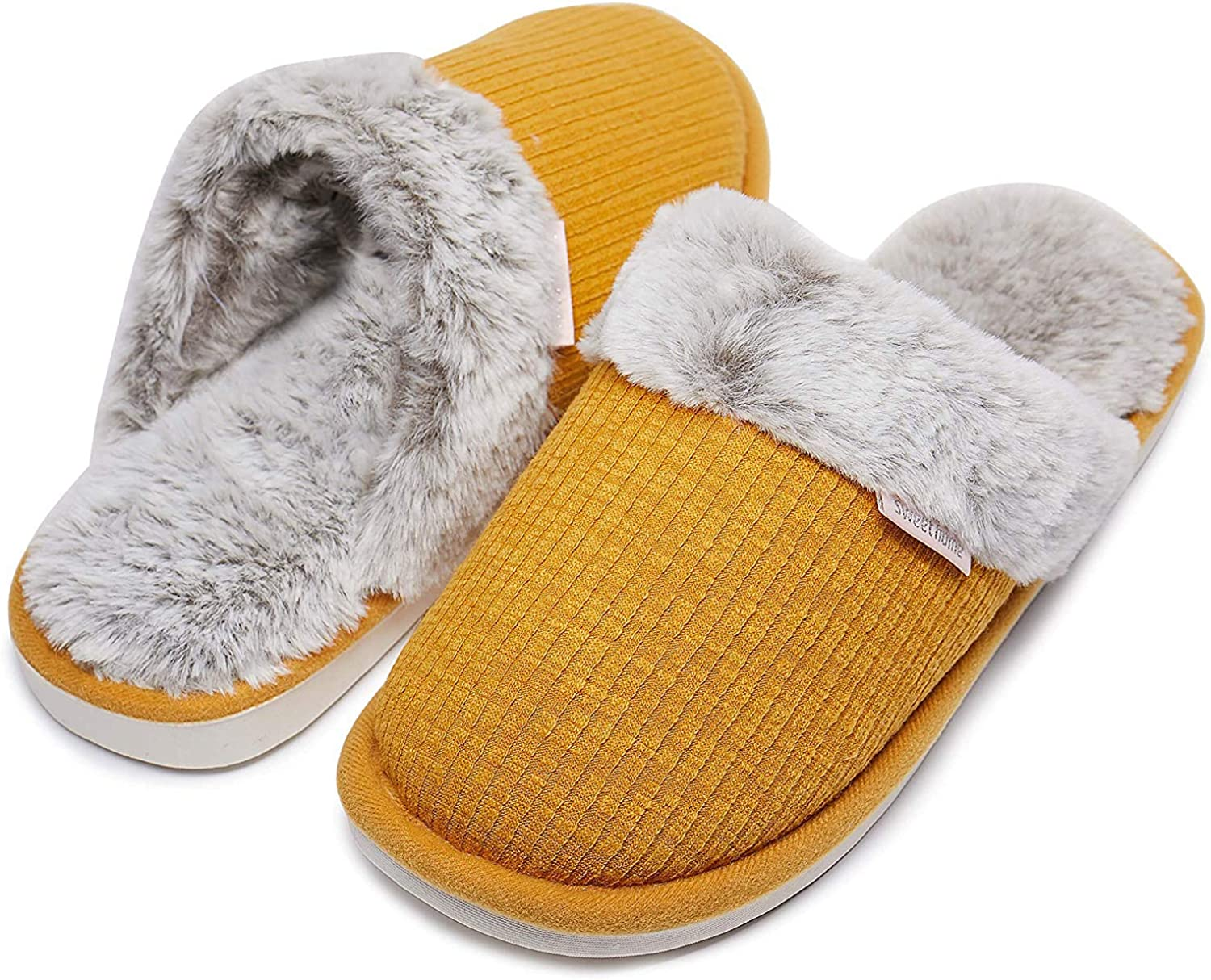 Womens Slippers,Memory Foam Fluffy Warm Non-Slip Comfortable Slip-on House shoes,Plush Indoor & Outdoor Winter