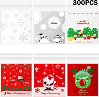 300 Pieces Christmas Cookie Treat Bags Self Adhesive Christmas Bags Cellophane Candy Bags Cookie Bags in 6 Styles for Party Gift Giving
