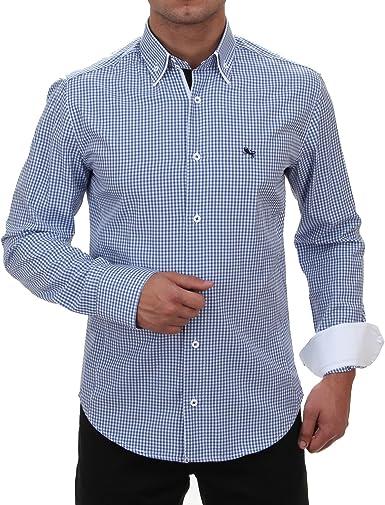 Doble Cuello Camisa Slim Fit en azul/blanco cuadriculado ...