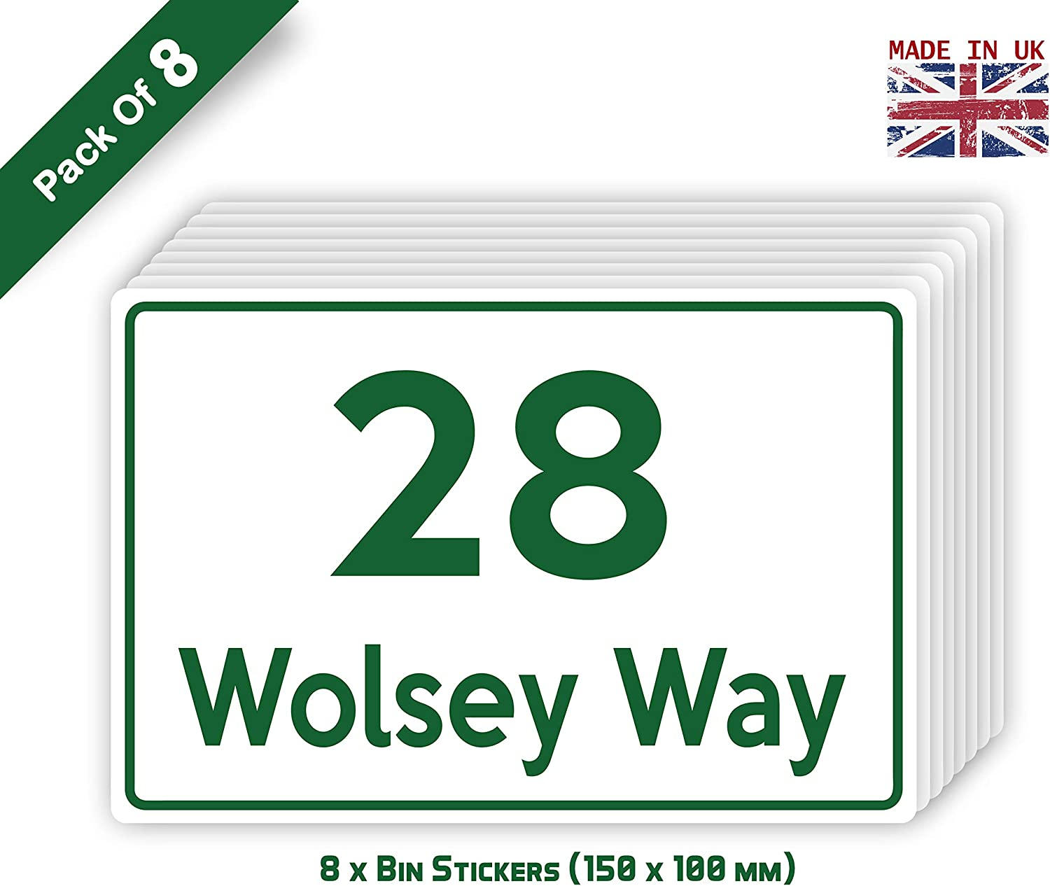 Pack of 12 A6 Waterproof Labels Classic Style Attractive Colour Stickers PBN06 Stickers Limited Brown 150 x 100 mm Personalised Custom Wheelie Bin Stickers with Your House Number /& Road Name
