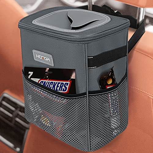 HOTOR Car Trash Can, Multifunctional Car Accessory for Interior Car Stuff Storage with Compact Design, Waterproof Car Organizer and Storage with Adjustable Straps, Magnetic Snaps (Gray)
