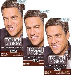 3 x Touch Of Grey Mens Hair Treatment Colour - Dark Brown Grey T45