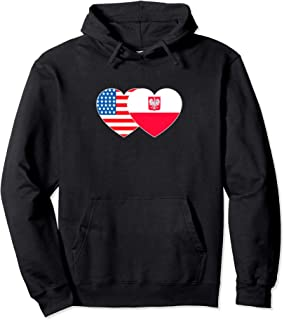 Poland & USA Flag Twin Heart for Polish Americans July 4th. Pullover Hoodie