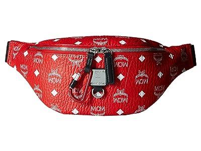 MCM Fursten White Logo Visetos Belt Bag Small (White Logo Viva Red) Bags