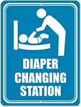 Honey Dew Gifts Restroom Sign, Diaper Changing Station 9 inch by 12 inch Metal Aluminum Baby Changing Station Sign for Business, Made in USA