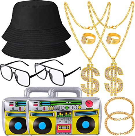50 Men's Vintage Halloween Costume Ideas YAROMO 12 Pieces 80s/ 90s Costume Kit Hip Hop Rapper Accessories Hat Sunglasses Gold Chain Bucket Hat Boom BoxGold Rapper Chain Bracelet and Ring with Dollar Sign Pendant  AT vintagedancer.com