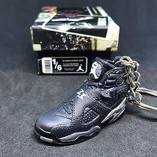 Air Jordan VIII 8 Retro Chrome Black Grey OG Sneakers Shoes 3D Keychain 1:6 Figure + Shoe Box