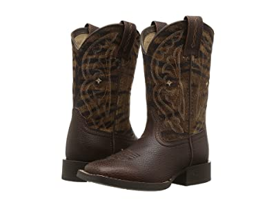 Ariat Kids Quickdraw (Toddler/Little Kid/Big Kid) (Pebbled Pinecone/Vintage Tiger Print) Cowboy Boots