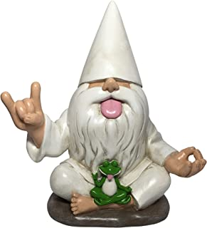 GlitZGlam Rocker Gnome George with Zen Frog - This Garden Gnome Combines Peace, Tranquility and Rock N Roll for Your Fairy...