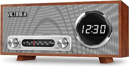 Victrola Bluetooth Digital Clock Stereo with FM Radio and USB Charging, Mahogany