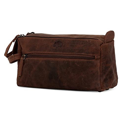 4776037d45 Leather Wash Bag for Men - Handcrafted Toiletry Bag for All Your Travel  Toiletries (Dark