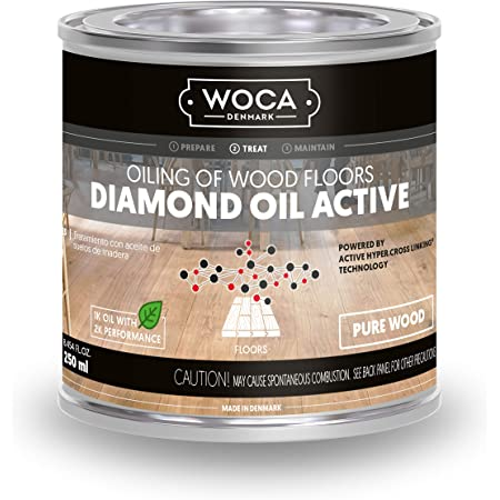 WOCA Denmark - Diamond Oil Active Wood Finish - Low VOC Plant Based Penetrating Oil for Untreated, New, or Newly-Sanded Wooden Surfaces (250mL, Pure Wood)