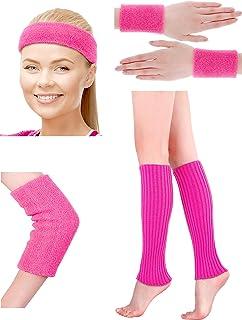 Damen 80s Neon Rosa Stirnband Armbänder Ellenbogenschutz Gestrickte Beinlinge Set für 1980s Party Kostüm Sport Zubehör