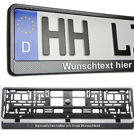 2 Kennzeichenhalter Carbon Look Mit Wunschtext Beschriftet Kennzeichenrahmen Auto