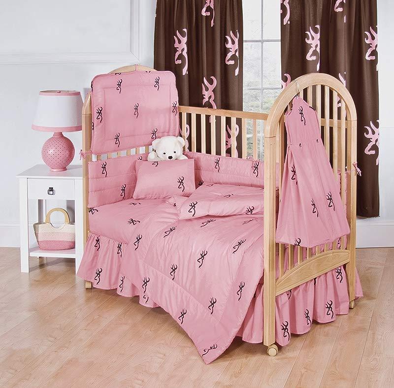 Browning Pink Buckmark 3pc Crib Bedding Baby Bed Set