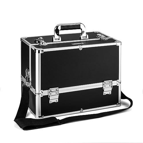 AMASAVA Large Make Up Box, 6 Trays Storage Beauty Box Vanity Case Makeup Organiser Nail