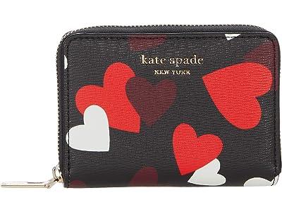 Kate Spade New York Spencer Celebration Hearts Zip Card Case (Black Multi) Handbags