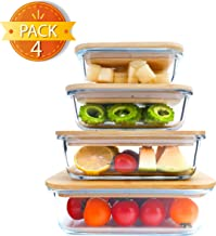 BlueHills Premium Glass Meal Prep Containers with bamboo Lids Plastic Free Glass Food Containers BPA-Free Microwave Oven Freezer Dishwasher Safe 4 pack set 8 pieces (G005 Assorted set bamboo lid)