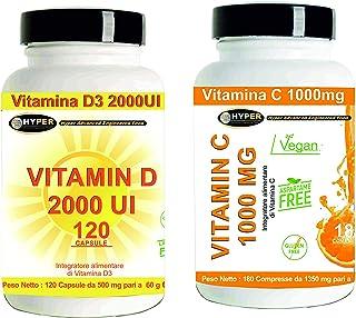 Defensa inmunitaria Vitamina D3 2000IU (50μg) 120 Cápsulas + Vitamina C 1000 mg 90 Tabletas