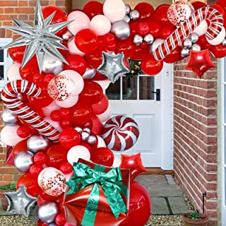 Christmas Balloon Garland Arch kit with Red White Candy Balloons Gift Box Balloons Red Sliver Star Balloons,Sliver Explosi...