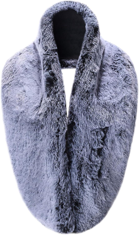 Caracilia Extra Large Women's Faux Fur Collar Warmer Scarf Wrap Shrug for Winter Coat