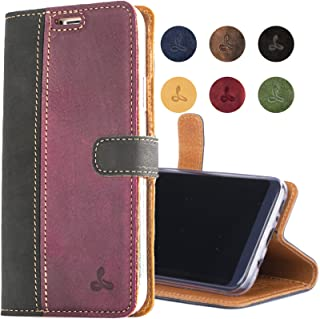 Samsung Galaxy S8 Case, Snakehive Genuine Leather Wallet with Viewing Stand and Card Slots, Flip Cover Gift Boxed and Handmade in Europe by Snakehive for Samsung Galaxy S8 - Black and Plum
