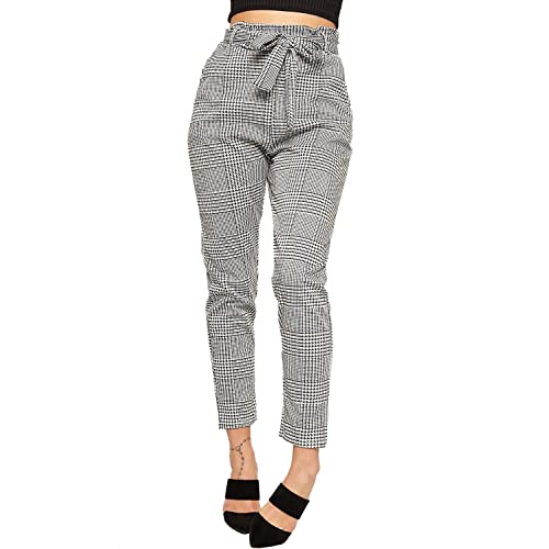 d08cd78d24e8 WearAll Women's Paperbag Tartan Checked Print Pocket Stretch Pants Ladies  Belted Trousers ...