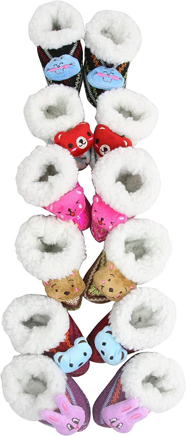 ToBeInStyle Baby Girls' Pack of 6 Faux Fur Lined Animal Head Slipper Boots